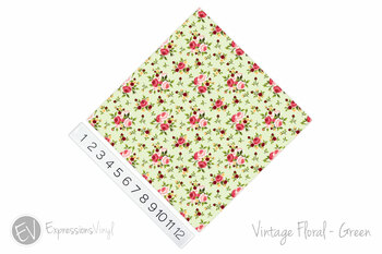 "12""x12"" Permanent Patterned Vinyl - Vintage Floral - Green"