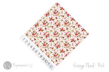 """12""""x12"""" Permanent Patterned Vinyl - Vintage Floral - Pink"""
