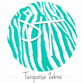 "12""x12"" Permanent Patterned Vinyl - Zebra - Turquoise"