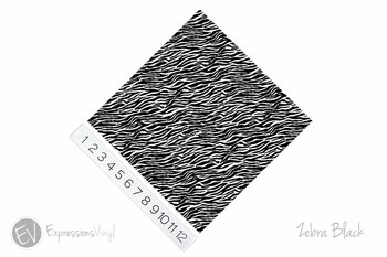 "12""x12"" Permanent Patterned Vinyl - Zebra - Black"