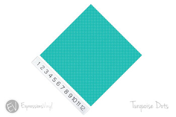 "12""x12"" Patterned Heat Transfer Vinyl - Dots - Turquoise"
