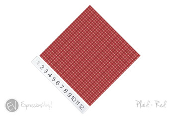 "12""x12"" Patterned Heat Transfer Vinyl - Plaid Red"