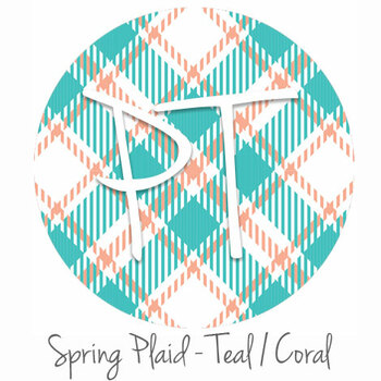 "12""x12"" Patterned Heat Transfer Vinyl - Spring Plaid - Teal/Coral"