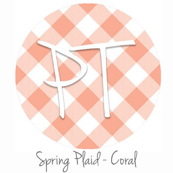 "12""x12"" Patterned Heat Transfer Vinyl - Spring Plaid - Coral"