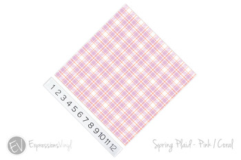 """12""""x12"""" Patterned Heat Transfer Vinyl - Spring Plaid - Pink/Coral *DISCONTINUED*"""