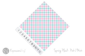 "12""x12"" Patterned Heat Transfer Vinyl - Spring Plaid - Pink/Mint"