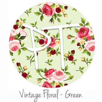 """12""""x12"""" Patterned Heat Transfer Vinyl - Vintage Floral - Green"""