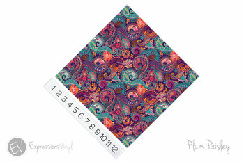"12""x12"" Permanent Patterned Vinyl - Plum Paisley"