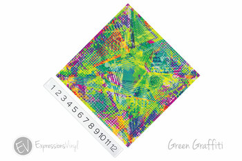 "12""x12"" Patterned Heat Transfer Vinyl - Green Graffiti"