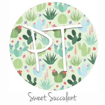"12""x12"" Permanent Patterned Vinyl - Sweet Succulent"
