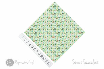 "12""x12"" Patterned Heat Transfer Vinyl - Sweet Succulent"