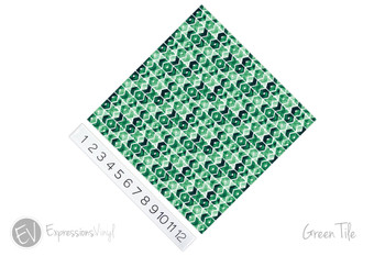 "12""x12"" Permanent Patterned Vinyl - Green Tile"