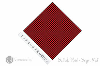 "12""x12"" Permanent Patterned Vinyl - Buffalo Plaid - Bright Red"
