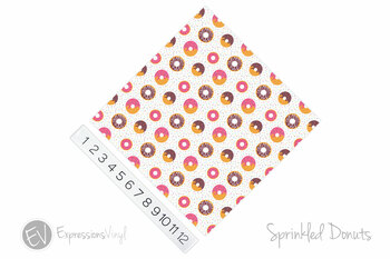 "12""x12"" Patterned Heat Transfer Vinyl - Sprinkled Donuts"
