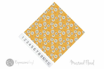 "12""x12"" Permanent Patterned Vinyl - Mustard Floral"