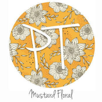 "12""x12"" Patterned Heat Transfer Vinyl - Mustard Floral"