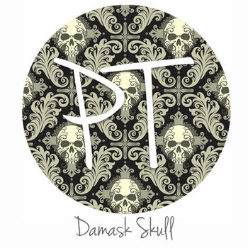 "12""x12"" Permanent Patterned Vinyl - Damask Skulls"