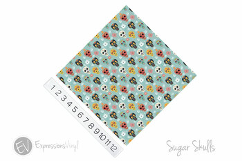 "12""x12"" Patterned Heat Transfer Vinyl - Sugar Skulls"