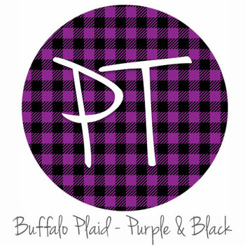 "12""x12"" Patterned Heat Transfer Vinyl - Buffalo Plaid: Purple/Black"