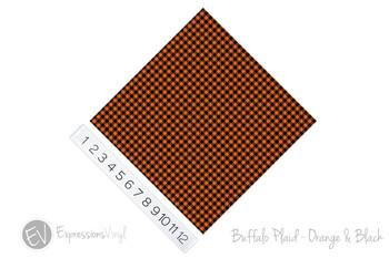 "12""x12"" Patterned Heat Transfer Vinyl - Buffalo Plaid: Orange/Black"