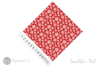 "12""x12"" Patterned Heat Transfer Vinyl - Snowflakes - Red"