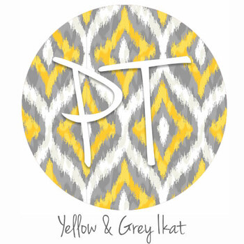"12""x12"" Patterned Heat Transfer Vinyl - Yellow & Grey Ikat"