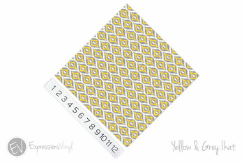 "12""x12"" Patterned Heat Transfer Vinyl - Yellow & Grey Ikat"