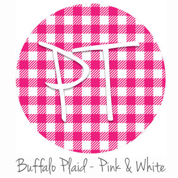 "12""x12"" Permanent Patterned Vinyl - Buffalo Plaid - Pink/White"