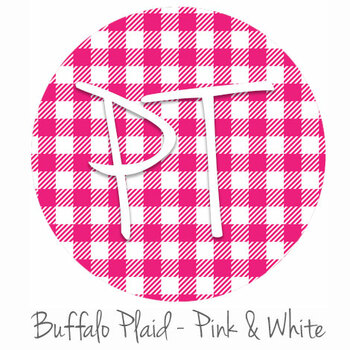 "12""x12"" Permanent Patterned Vinyl - Buffalo Plaid - Pink/White"