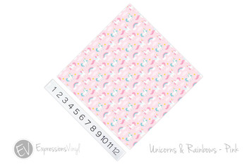"12""x12"" Permanent Patterned Vinyl - Unicorns & Rainbows - Pink"