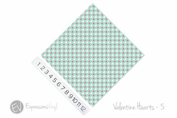 "12""x12"" Patterned Heat Transfer Vinyl - Valentine's Hearts 5"