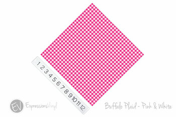 "12""x12"" Patterned Heat Transfer Vinyl - Buffalo Plaid - Pink/White"
