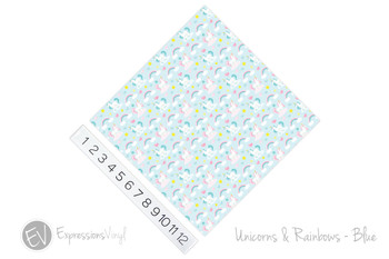 "12""x12"" Patterned Heat Transfer Vinyl - Unicorns & Rainbows - Blue"