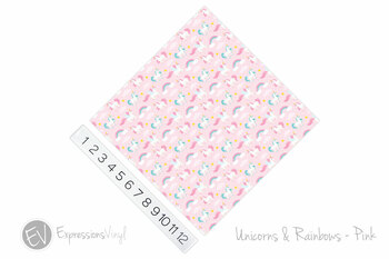 "12""x12"" Patterned Heat Transfer Vinyl - Unicorns & Rainbows - Pink"