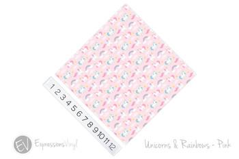 "12""x12"" Patterned Heat Transfer Vinyl - Unicorns & Rainbows - Pink"