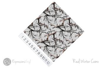 "12""x12"" Patterned Heat Transfer Vinyl - Real Winter Camo"