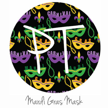 "12""x12"" Permanent Patterned Vinyl - Mardi Gras Mask"