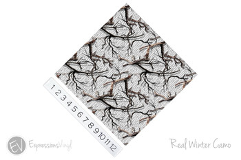 """12""""x12"""" Permanent Patterned Vinyl - Real Winter Camo"""