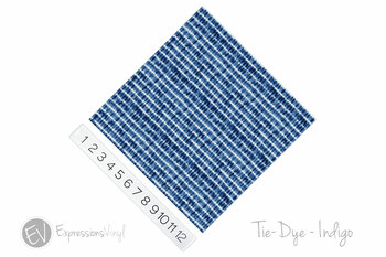 "12""x12"" Permanent Patterned Vinyl - Tie Dye - Indigo"
