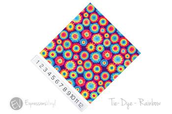 """12""""x12"""" Patterned Heat Transfer Vinyl - Tie Dye - Rainbow"""