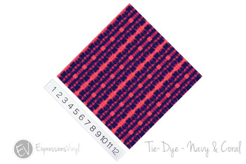 "12""x12"" Patterned Heat Transfer Vinyl - Tie Dye - Navy & Coral"