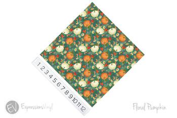 "12""x12"" Patterned Heat Transfer Vinyl - Floral Pumpkins"