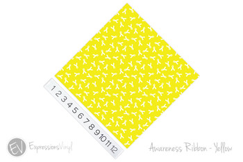 "12""x12"" Patterned Heat Transfer Vinyl - Awareness Ribbon - Yellow"
