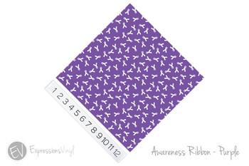 "12""x12"" Patterned Heat Transfer Vinyl - Awareness Ribbon - Purple"