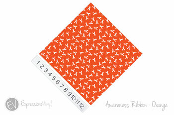 "12""x12"" Patterned Heat Transfer Vinyl - Awareness Ribbon - Orange"
