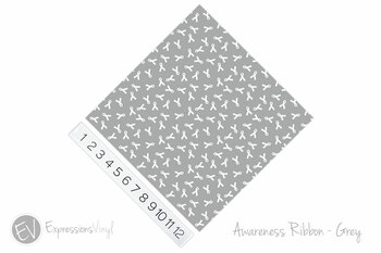 "12""x12"" Patterned Heat Transfer Vinyl - Awareness Ribbon - Grey"