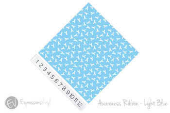 "12""x12"" Patterned Heat Transfer Vinyl - Awareness Ribbon - Light Blue"