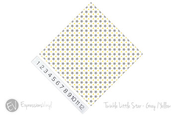"12""x12"" Patterned Heat Transfer Vinyl - Twinkle Little Star - Grey/Yellow"