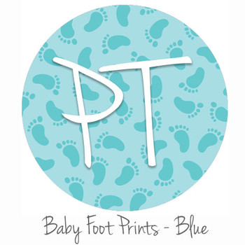 "12""x12"" Patterned Heat Transfer Vinyl - Baby Foot Prints - Blue"