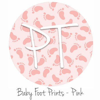 "12""x12"" Patterned Heat Transfer Vinyl - Baby Foot Prints - Pink"